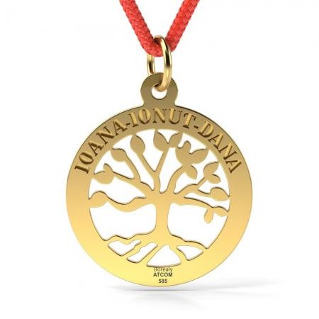 Pandantiv Copacul vietii cu Snur reglabil din Aur galben 14 kt personalizabil