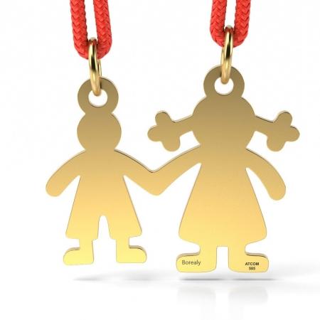 Pandantiv Mama si Baietel cu Snur reglabil din Aur galben 14 kt personalizabil