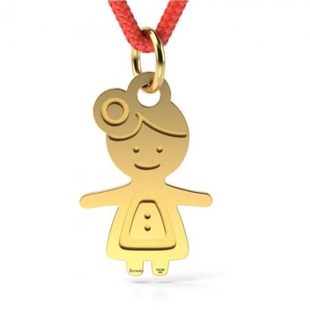 Pandantiv Fetita Harnica cu Snur reglabil din Aur galben 14 kt personalizabil