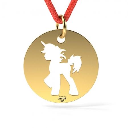 Pandantiv Unicorn cu Snur reglabil din Aur galben 14 kt personalizabil