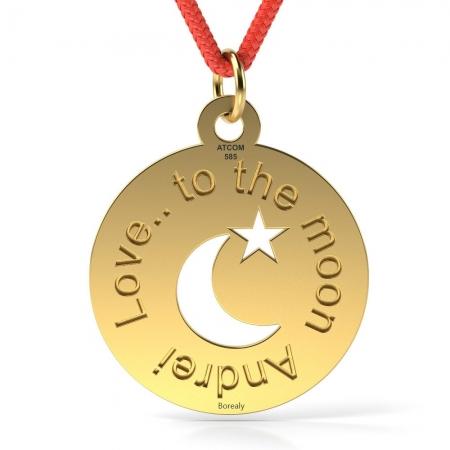 Pandantiv Love to the Moon cu Snur reglabil din Aur galben 14 kt personalizabil