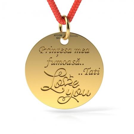 Pandantiv Love You cu Snur reglabil din Aur galben 14 kt personalizabil