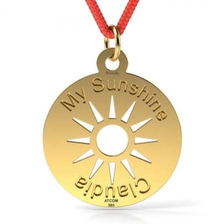 Pandantiv My Sunshine cu Snur reglabil din Aur galben 14 kt personalizabil