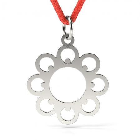 Pandantiv Floare cu Snur reglabil din Argint 925 personalizabil