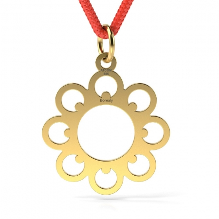 Pandantiv Floare cu Snur reglabil din Aur galben 14 kt personalizabil