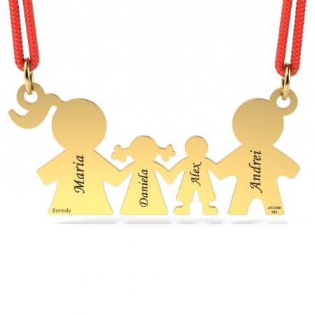 Pandantiv Familie cu Snur reglabil din Aur galben 14 kt personalizabil
