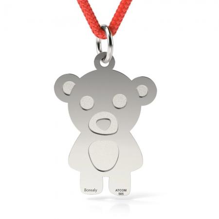 Pandantiv Teddy Bear cu Snur reglabil din Argint 925 personalizabil
