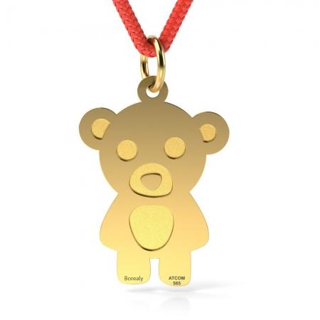 Pandantiv Teddy Bear cu Snur reglabil din Aur galben 14 kt personalizabil