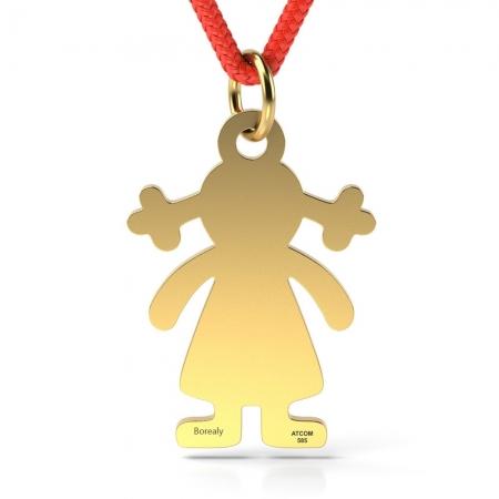 Pandantiv Fetita cu Codite cu Snur reglabil din Aur galben 14 kt personalizabil