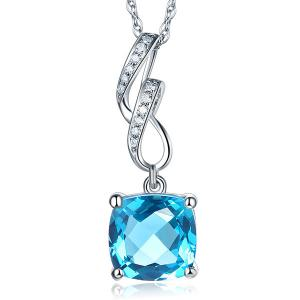 Pandantiv Borealy Aur Alb 14 K 4.6 Ct Cushion Swiss Blue Topaz
