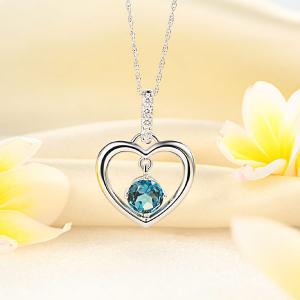 Pandantiv Borealy Aur Alb 14 K Topaz Natural London Blue Heart5