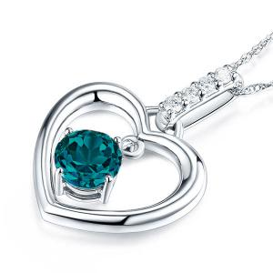 Pandantiv Borealy Aur Alb 14 K Topaz Natural London Blue Heart2