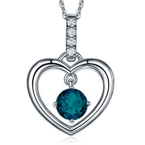 Pandantiv Borealy Aur Alb 14 K Topaz Natural London Blue Heart0
