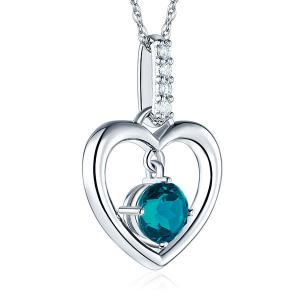 Pandantiv Borealy Aur Alb 14 K Topaz Natural London Blue Heart3