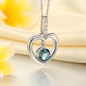 Pandantiv Borealy Aur Alb 14 K Topaz Natural London Blue Heart4
