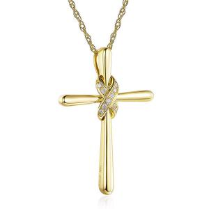 Pandantiv Borealy Aur Galben 14 K 0,04 ct Natural Diamonds Twisted Cross3
