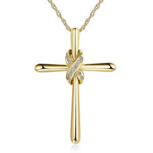 Pandantiv Borealy Aur Galben 14 K 0,04 ct Natural Diamonds Twisted Cross0