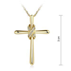 Pandantiv Borealy Aur Galben 14 K 0,04 ct Natural Diamonds Twisted Cross2