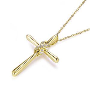 Pandantiv Borealy Aur Galben 14 K 0,04 ct Natural Diamonds Twisted Cross1