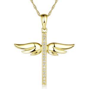 Pandantiv Borealy Aur Galben 14 K 0,08 Ct Natural Diamonds Angel Wing Cross