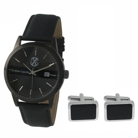Passion for Time Gift Set Ceas Christian Lacroix si Butoni Black Silver