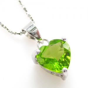 Peridot Natural Ultra Heart 2 carate Colier -Argint 9252
