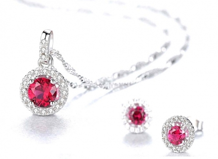 Pink Sapphire Pallace Set Cercei si Colier Argint 925 by Borealy