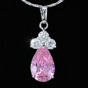Colier Borealy Simulated Sapphire Drop Pink2