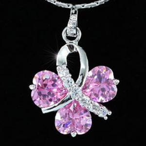 Colier Borealy Simulated Sapphire Pink Love1