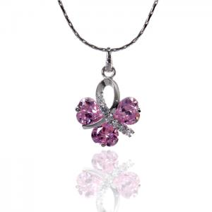 Colier Borealy Simulated Sapphire Pink Love0