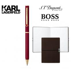 Set Pix DUPONT Lotus Red Lacquer and Gold by Karl Lagerfeld si Note Pad Burgundy Hugo Boss