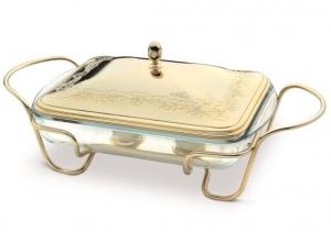 Vas placat cu aur galben PORTA Pirex FILO ROSE termorezistent cu capac și suport cu mânere by Chinelli, made in Italy