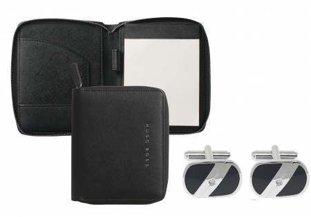 Premium Business Gift Set Mapa Conferinta Hugo Boss A6 si Butoni Silver Stamp0
