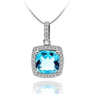 Princess Square Topaz Natural Colier Argint 9250