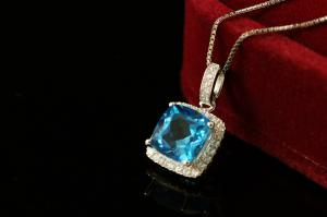 Princess Square Topaz Natural Colier Argint 9252