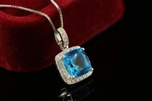 Princess Square Topaz Natural Colier Argint 9251