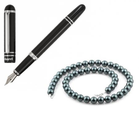 Stilou Cacharel Dandy si Colier Perle Negre Caviar Naturale de Cultura