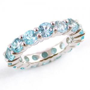 Inel Blue Topaz Natural Eternity 5 carate0