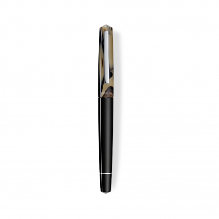 Stilou Infrangibile, Tibaldi, din rasina corp negru - capac gri taupe cu finisaj din otel inoxidabil1