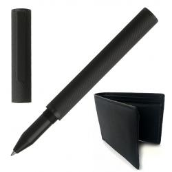 Set Black Desk Rollerball Fineline Hugo Boss si Portofel Piele Naturala