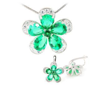 Russian Smarald Flowers Colier şi Cercei 10 carate & Silver 9255