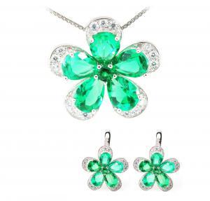 Russian Smarald Flowers Colier şi Cercei 10 carate & Silver 9250
