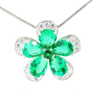 Russian Smarald Flowers Colier şi Cercei 10 carate & Silver 9254