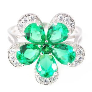 Russian Smarald Flower Inel - Mărimea 7 Argint 9250