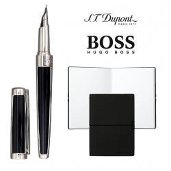 Set S.T. Dupont Luxury Fountain Pen si Note Pad Black Hugo Boss0