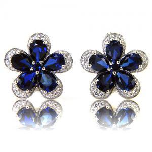 Safir Flowers Colier şi Cercei 10 carate & Silver 9251