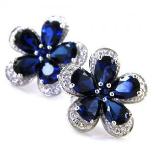 Safir Flowers Colier şi Cercei 10 carate & Silver 9257