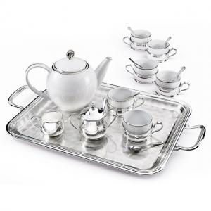 Sera Tray Chinelli Silver Plated Set Cafea/ Ceai by Chinelli - made in Italy0