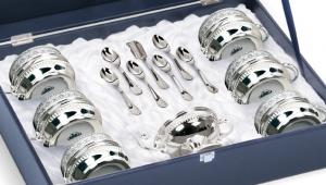 Serviciu de Cafea/Ceai 6 Persoane Silver Plated by Chinelli - made in Italy1