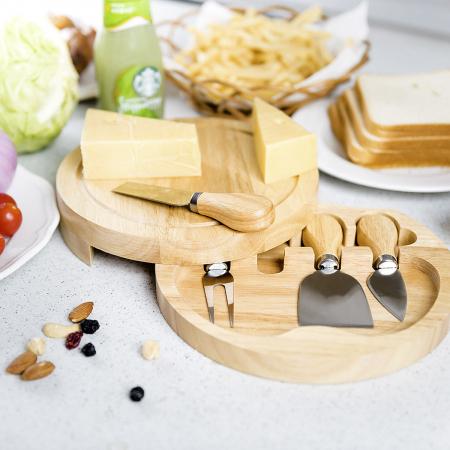 Set 4 cuțite pentru brânză Professional si suport lemn [8]